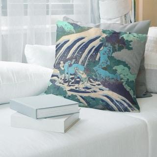Porch & Den Katsushika Hokusai 'Horse and Waterfall' Throw Pillow