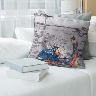 Porch & Den Katsushika Hokusai 'Japanese Courtesan' Throw Pillow