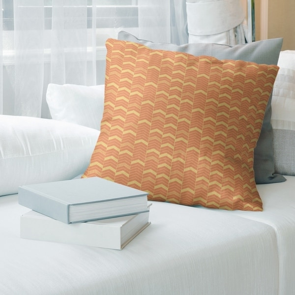 Porch & Den Athens Warm Tones Lined Chevrons Throw Pillow