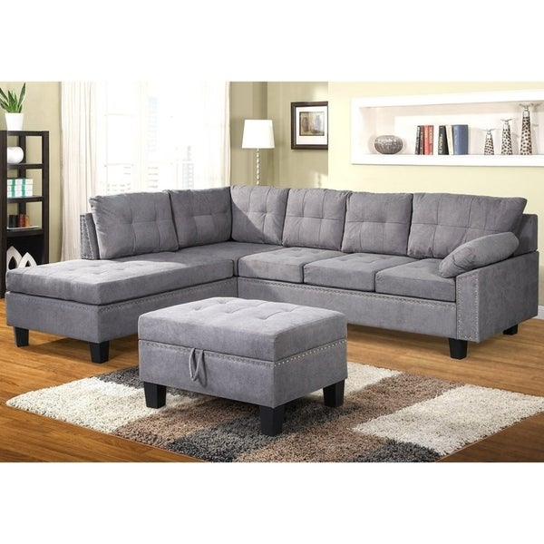 Shop Harper & Bright Designs Sectional Sofa Set with Storage Ottoman ...