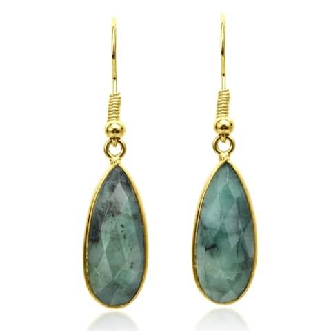 Handmade Enchanting Emerald Teardrops on Gold-Plated Over Brass Dangle Earrings (Thailand)