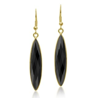 Handmade Black Elongated Simulated Onyx Gold-Plated Over BrassDangle Earrings (Thailand)