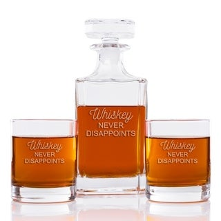 Whiskey Never Disappoints 26 oz. Classic Square Decanter and Rocks Glasses (Set of 3)