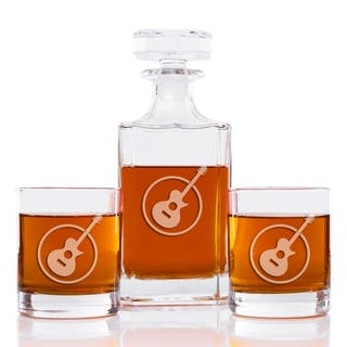 Guitar 26 oz. Classic Square Decanter and Rocks Glasses (Set of 3)