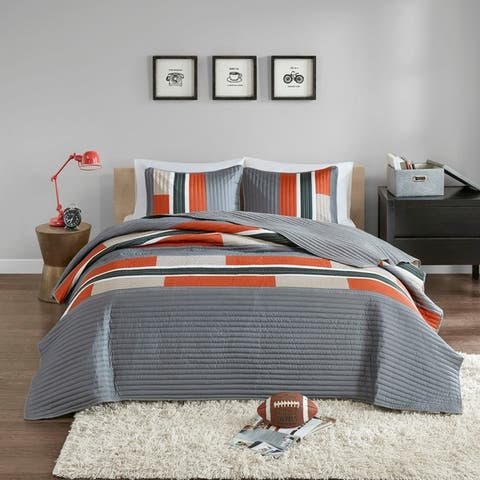 Comfort Spaces Parker Gray/Orange Mini Quilt Set