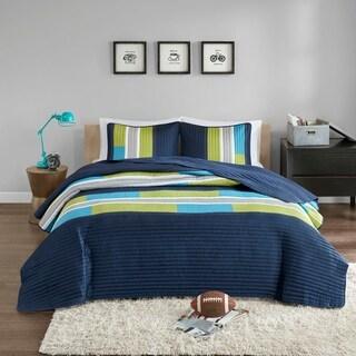 Comfort Spaces Parker Gray/Orange Mini Quilt Set