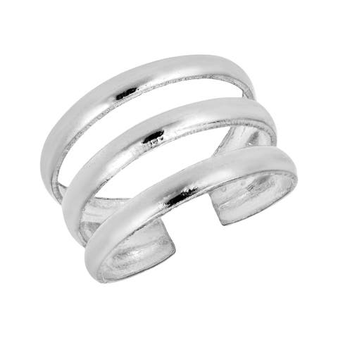 Handmade Simple Three Wavy Line Sterling Silver Toe or Pinky Ring (Thailand)