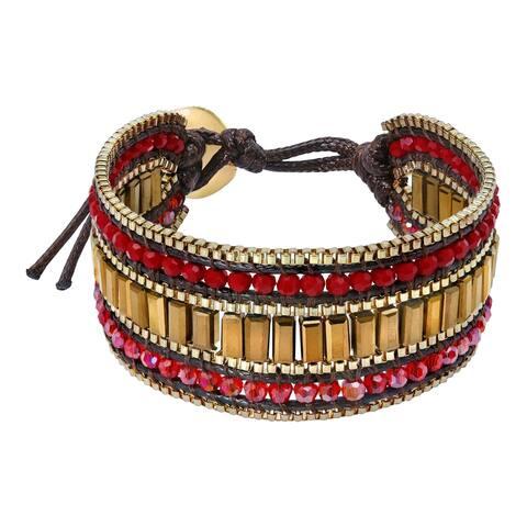 Handmade Dynamic Medley Crystal Silver Metallic Bead Cotton Rope Wristband Bracelet (Thailand)