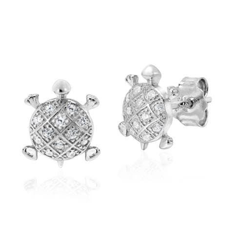 Handmade Dazzling Marine Turtle Cubic Zirconia Inlays Sterling Silver Stud Earrings (Thailand)