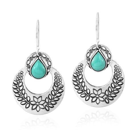 Handmade Alluring Floral Wreath Engraved Circles Turquoise Stone Inlays Dangle Earrings (Thailand)