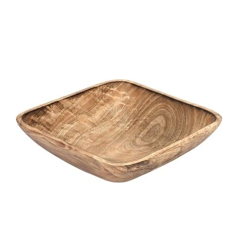 Handmade Functional Square Shaped Mango Tree Wood Serving Dish or Fruit Bowl (Thailand)