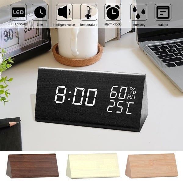 Digital Alarm Clock LED Digital Display Voice Control USB Charging 4 Color. Opens flyout.