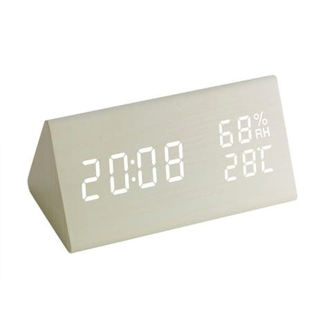Digital Alarm Clock LED Digital Display Voice Control USB Charging 4 Color