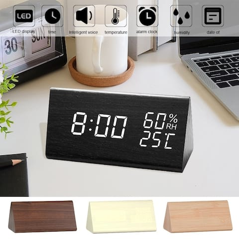 Digital Alarm Clock LED Digital Display Voice Control USB Charging 4 Color