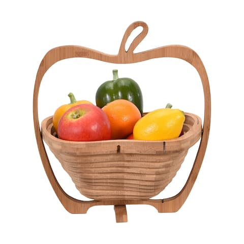 Handmade Unique Apple Shaped Bamboo Wood Folding Fruit Bowl or Basket (Thailand)