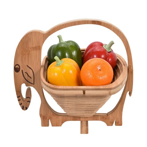 Handmade Unique Bamboo Wooden Elephant Folding Fruit Bowl or Basket (Thailand)