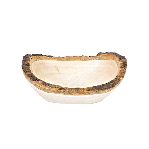 Handmade Handcrafted Mango Tree Wood with Bark Rim Small Oval-Shaped Serving Bowl (Thailand)