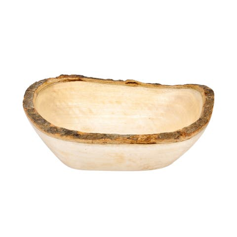 Handmade Handcrafted Mango Tree Wood with Bark Rim Medium Oval-Shaped Serving Bowl (Thailand)