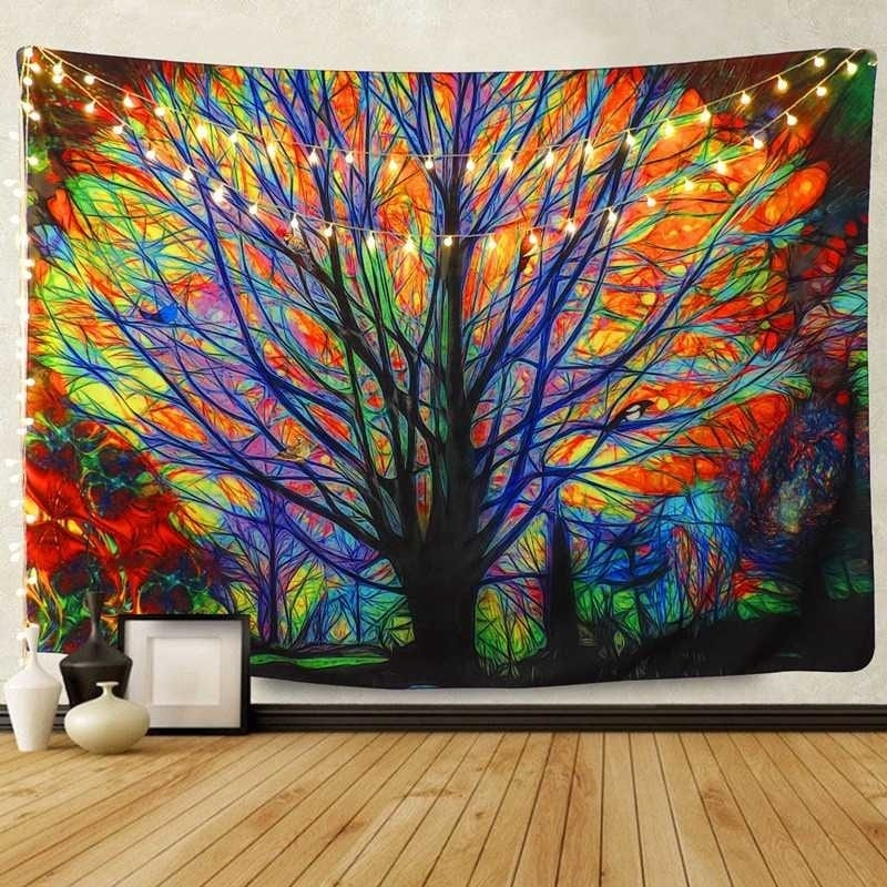 US Ship Psychedlic Forest Tapestry Room Wall Hanging Hippie Tapestry Home Decor