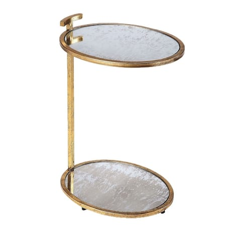 Butler Ciro Modern Metal and Mirror Oval Side Table - Gold