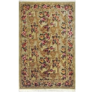Handmade One-of-a-Kind Aubusson Wool Rug (Pakistan) - 5'8 x 9'
