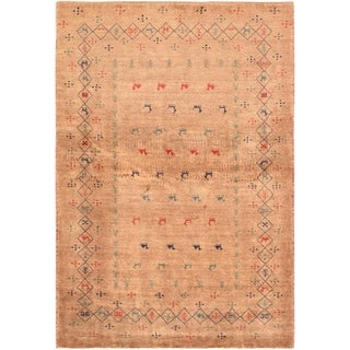 """Pasargad Home Gabbeh Collection Hand-Knotted Lamb's Wool Area Rug- 3' 4"""" X 4'10"""" - 3' 4"""" X  4'10"""""""
