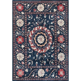 "Pasargad Home Suzani Collection Hand-Knotted Wool Area Rug- 8' 9"" X 12' 3"" - 8' 9"" X 12' 3"""