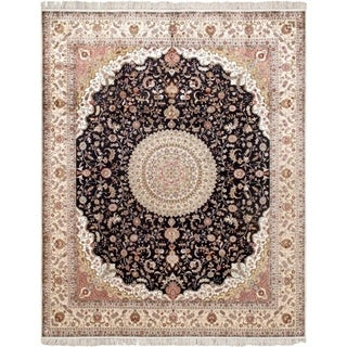 """Pasargad Home Tabriz Collection Hand-Knotted Pure Silk Area Rug- 8' 0"""" X 10' 0"""" - 8' 0"""" X 10' 0"""""""