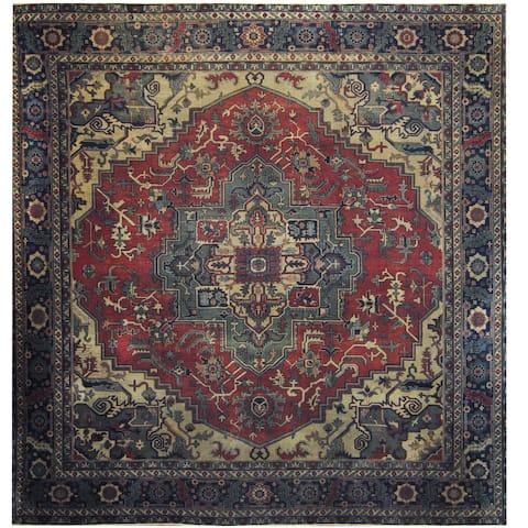 Handmade Herat Oriental Turkish Hand-knotted 1910's Antique Serapi Wool Rug (11'8 x 11'8) - 11'8 x 11'8