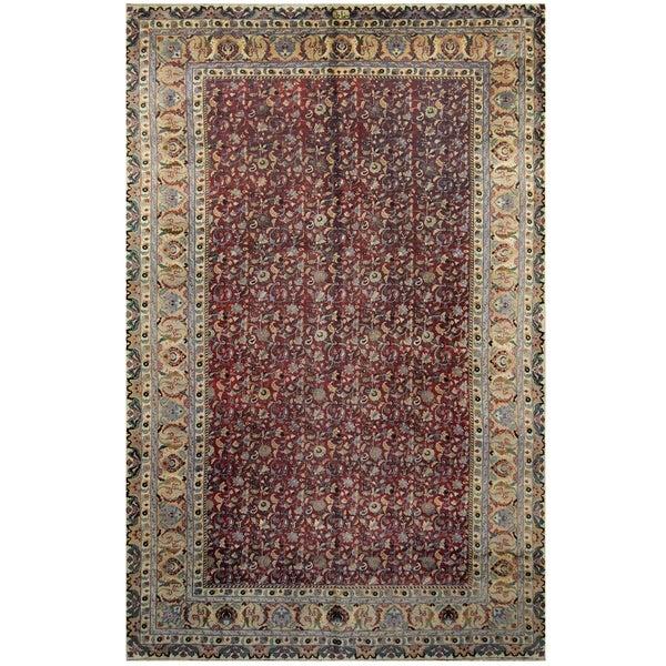 Handmade One-of-a-Kind Mashad Wool Rug (Iran) - 9'5 x 15'3