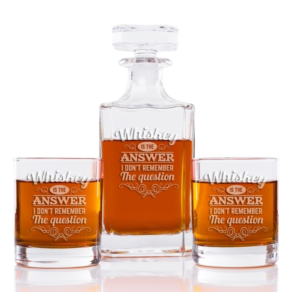 Shop Whiskey Is The Answer I Don't Remember The Question 26 oz. Classic  Square Decanter and Rocks Glasses (Set of 3) - Overstock - 28337708