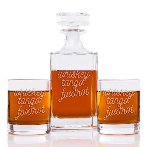 Whiskey Tango Foxtrot 26 oz. Classic Square Decanter and Rocks Glasses (Set of 3)