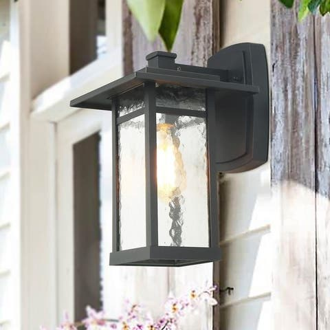 """Lectus 1-Light Exterior Outdoor Black Wall Sconces Wall Lamp Lighting - L6.5 """"X W7.5"""" X H11"""""""