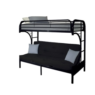Eclipse Twin Xl Over Queen Futon Metal Bunk Bed with Guardrails, Black
