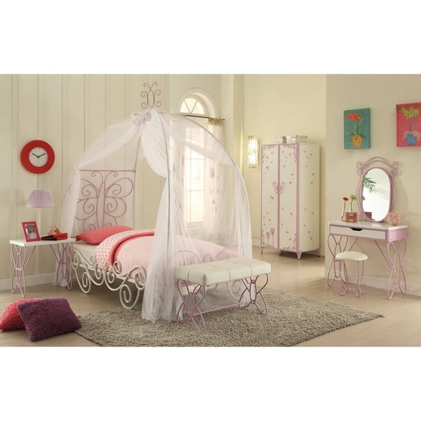 Contemporary Metal Twin Bed with Canopy and Scrolled Work Details, White and Purple