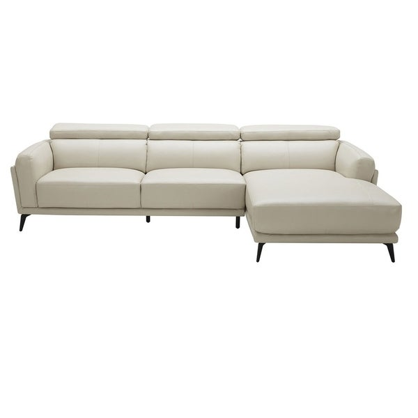 Leatherette Upholstered Wooden Sectional with Right Facing Chaise, Light Gray, Set of Two