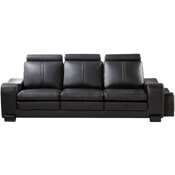 Faux Leather Upholstered Wooden Sofa and Ottoman, Set of Two, Black