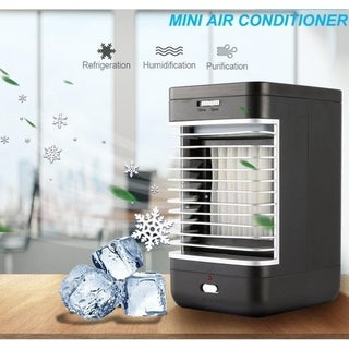 110-240V Mini Air Conditioner Personal Evaporative Air Cooler Humidifier Desktop Cooling Fan for Office and Home - Black