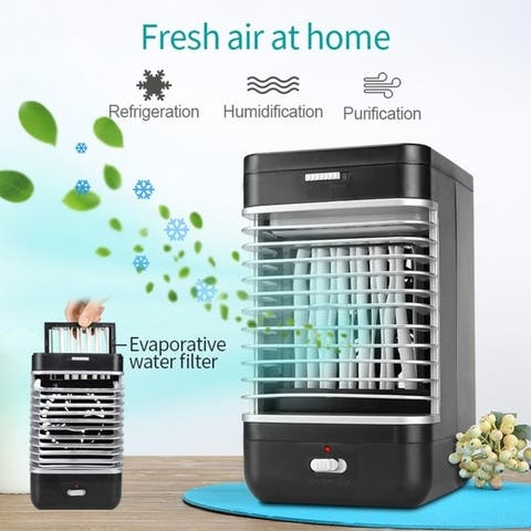 US Plug Home Office Mini Air Conditioner Personal Evaporative Air Cooler Humidifier Desktop Cooling Fan with 2 Speeds - Black
