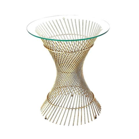 Butler Chilton Modern Glass and Metal Round End Table - Antique Gold