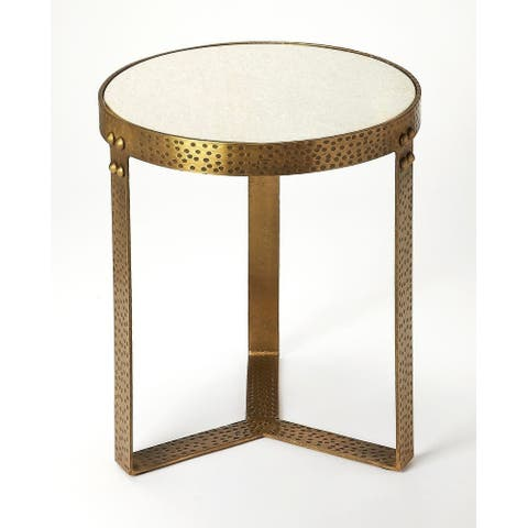 Butler Elton Transitional Marble and Metal Round End Table - Gold