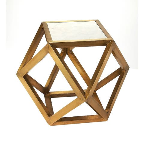 Butler Chloe Modern Square Brass and Marble Bunching Table - Gold