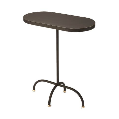 Butler Cleo Modern Black Gold Iron and Wood Oval End Table