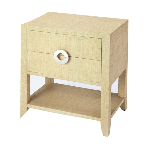Butler Amelle Modern Rectangular Cream Raffia End Table - Beige