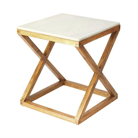 Butler Braylon Modern Marble and Wood Square End Table - Natural Wood