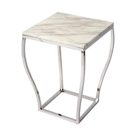Butler Haley Modern Marble and Metal Square End Table - Silver