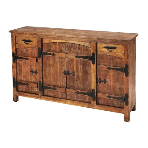 Butler Giddings Traditional Rustic Acacia Wood Rectangular Sideboard - Medium Brown