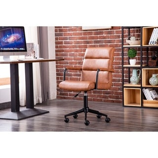 Porthos Home Paavo Swivel Office Chair, Height Adjustment, PU Leather