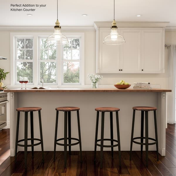 Modern Farmhouse Bar Height Stools Backless By Lavish Home Set Of 2 Overstock 28338652