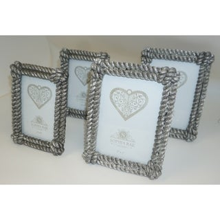 Sophia Rae Silver Decorative Rope Picture Frame Set of Four Frames